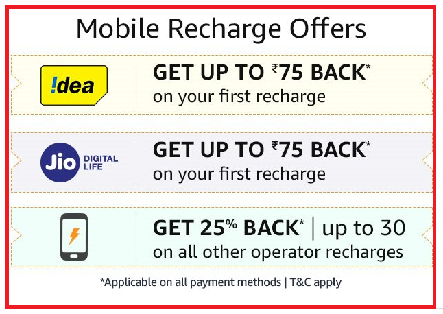 Amazon Recharge Offer : Get 25% Cashback Upto Rs 30 + Get Rs 75 Back On  Idea/Jio Recharge - Offer Ground